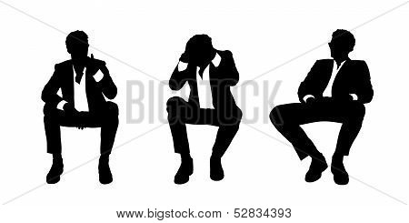 Businessman Seated In The Armchair Silhouettes Set 2