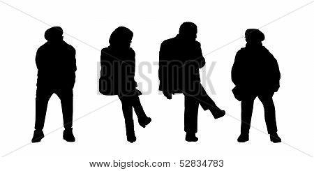 People Seated Outdoor Silhouettes Set 3