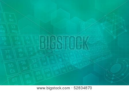 Turquoise futuristic background with the periodic table of elements