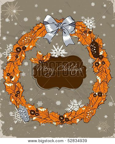 Christmas card with wreath.