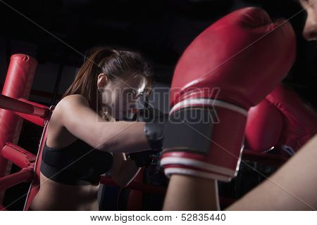 Over the shoulder view of two female boxers boxing
