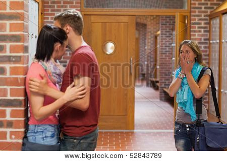 Shocked student finding her boyfriend cheating in school