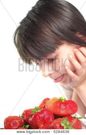 Girl Prepare Eat Of Strawberries