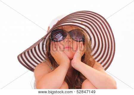 Beautiful Little Girl In A Hat And With Sunglasses