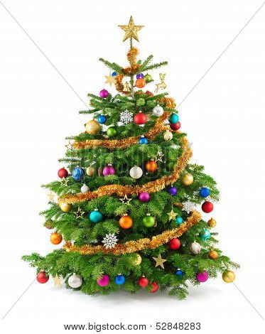 Lush Christmas Tree With Colorful Ornaments