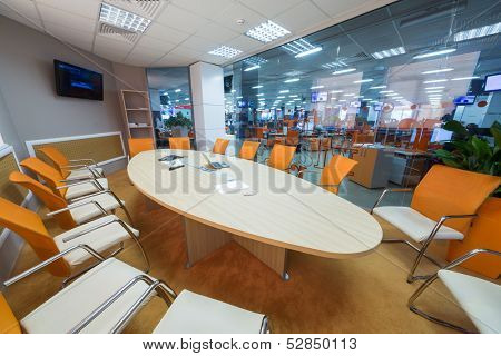 MOSCOW - MAR 5: Conference room in office buildings news agency RIA Novosti with round table on March 5, 2013 in Moscow, Russia.
