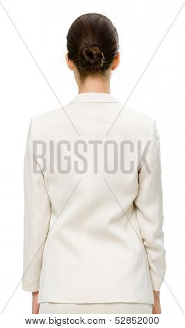 Backview of business woman, isolated on white. Concept of leadership and success