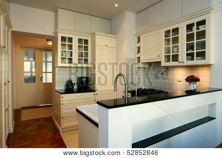 Kitchen In White And Ecru