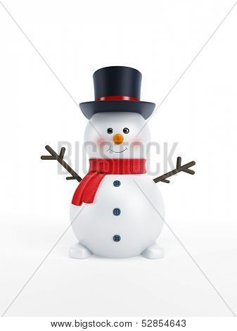 happy snowman isolated 3d rendering