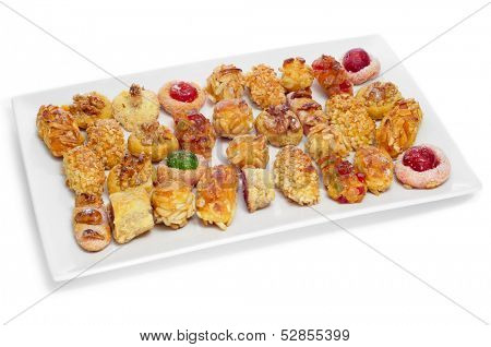 a tray with panellets, typical pastries of Catalonia, Spain, eaten in All Saints Day