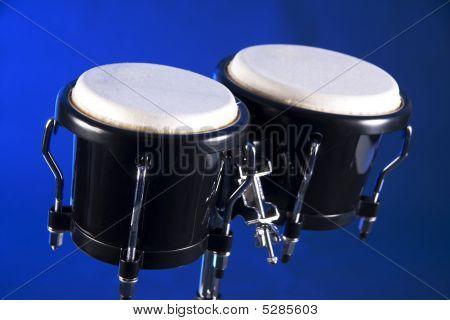 Bongos Isolated On Blue Background