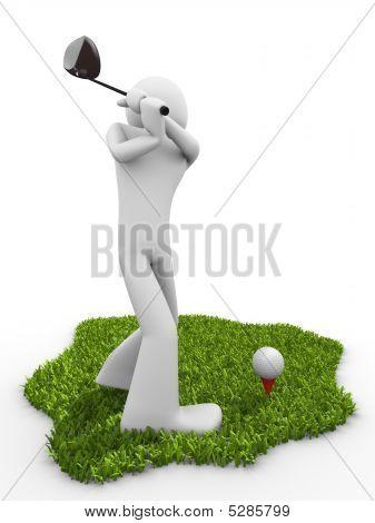 Moment Before Tee Stroke, Starting Golf Match