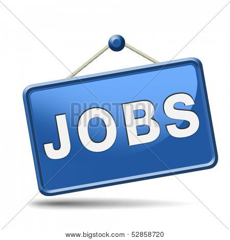 jobs ahead opportunity and warning for a career move or job interview or ad diamond in yellow hiring now in an advert button or icon