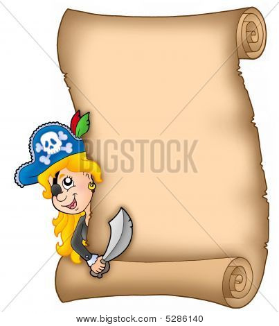 Parchment With Lurking Pirate Girl