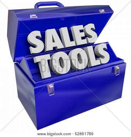 The words Sales Tools in a green metal toolbox to illustrate selling techniques, methods, schemes, plans or processes