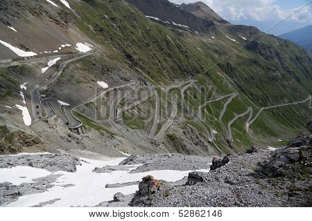 Serpentine Road In The Italian Alps Leads To Stelvio Pass