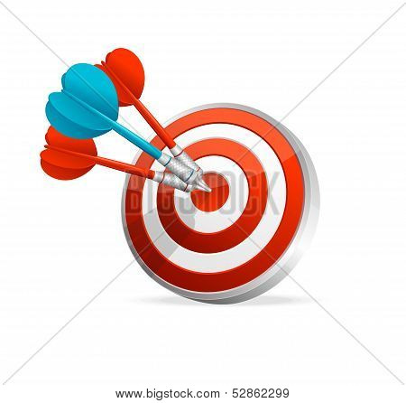 Dartboard with colorful darts. Hitting A Target
