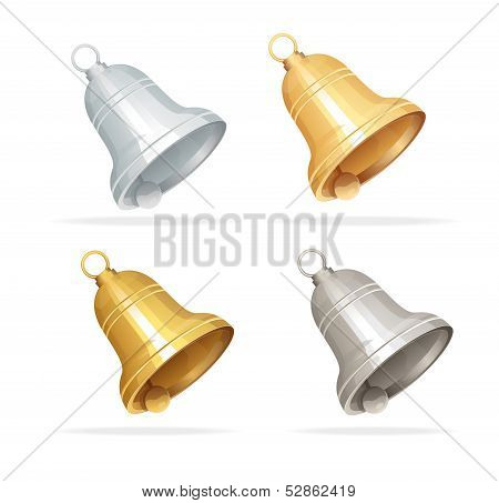 Christmas bell set on white background