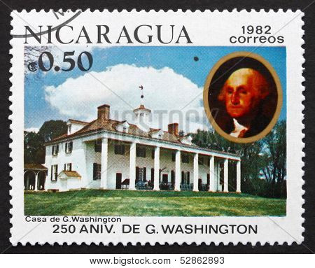 Postage Stamp Nicaragua 1982 Mount Vernon, House Of George Washi