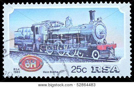 Stamp illustrating a Locomotive