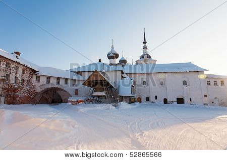 Solovki monastery in the winter Russia
