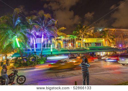 People By Night On Ocean Drive