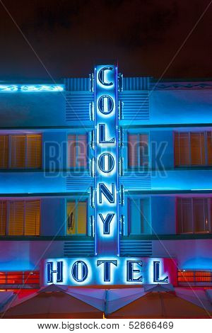 Colony Hotel At Ocean Drive By Night