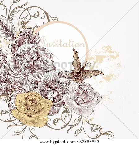 Fashion Invitation Background With Hand Drawn Roses