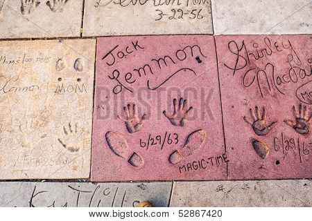 Handprints Of Jack Lemmon In Hollywood Boulevard In The Concrete Of Chinese Theatre's Forecourt
