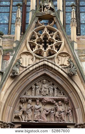 Colmar - Cathedral of Saint Martin reliefs on the portal