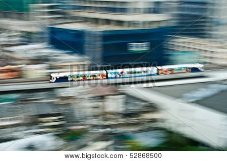 Sky Train In Motion Between Station Nana And Ashoka
