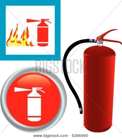 Fire Extinguisher With Icon