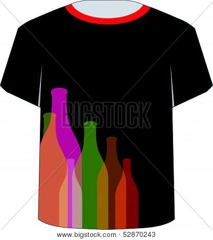 T Shirt Template- colorful bottles