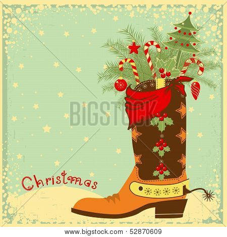 Cowboy Boot With Christmas Elements