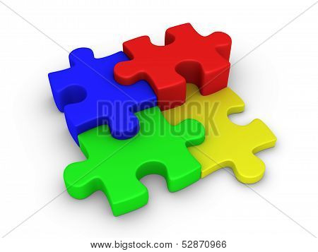 Four Puzzle Pieces Connected