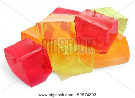 Tasty jelly cubes isolated on white