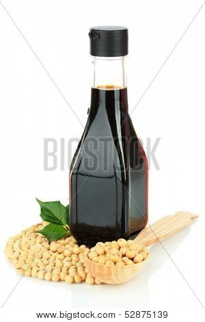 Soy beans and sauce isolated on white