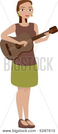 Chica tocando la guitarra aislado en blanco