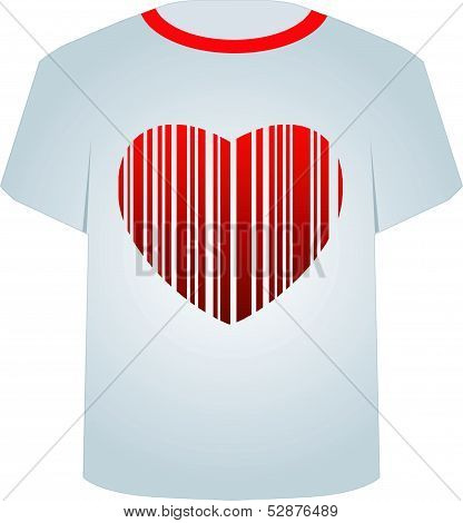 T Shirt Template-Heart bar code