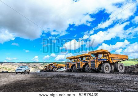 Big Truck In Open Pit And Blue Sky
