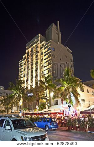 Night View At Ocean Drive In Miami South Art Deco District