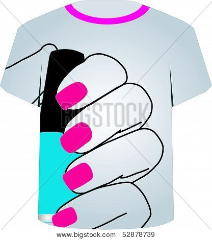 T Shirt Template- Painted nails