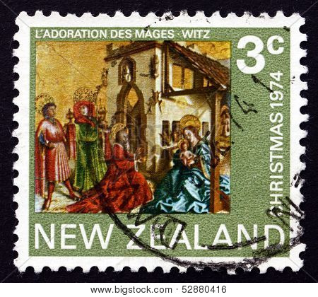 Postage Stamp New Zealand 1974 Adoration Of The Kings, By Conrad Witz
