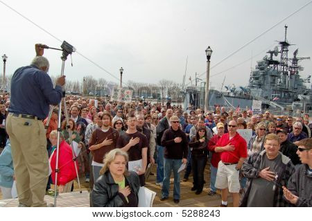 Crowd Pledging Allegiance