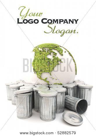 Sick earth showing America  in the dustbin