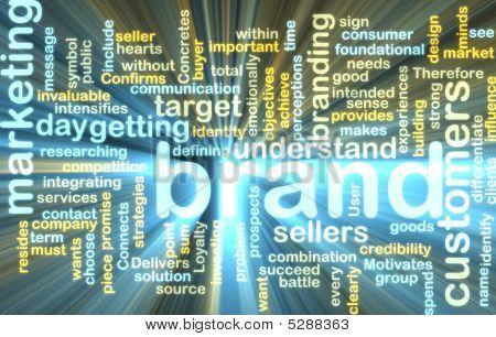 Wordcloud de Marketing de marca que brilla intensamente