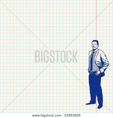 Businessman on grid paper