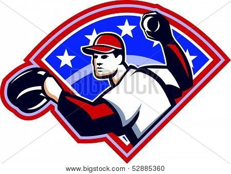 Baseball Player Throwing Ball Retro