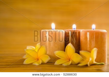 Aromatic Candles With Frangipani On Bamboo