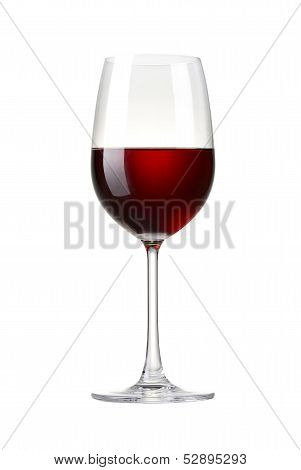 Red wine in a glass isolated on white background - realistic photo image